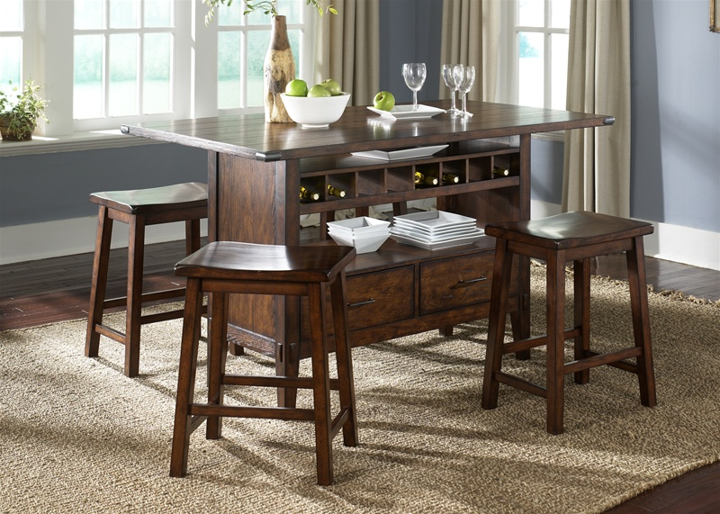 Cabin Fever Center Isle 5 Piece Dining Set In Bistro Brown