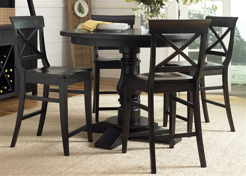 Sundance Lake Round Pedestal Counter Height Table 5 Piece Dining Set In Dark Molasses Finish By