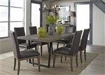 Haley Springs Trestle Table 5 Piece Dining Set in Reclaimed Gray and Tan Wood Finish by Liberty Furniture - 128-CD-5TRS