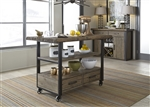 Haley Springs Kitchen Island Cart in Reclaimed Gray and Tan Wood Finish by Liberty Furniture - 128-IT5036