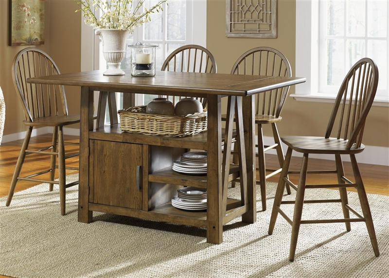 Farmhouse Center Island Counter Height Table 5 Piece Dining Set In Weathered  Oak Finish By Liberty ...