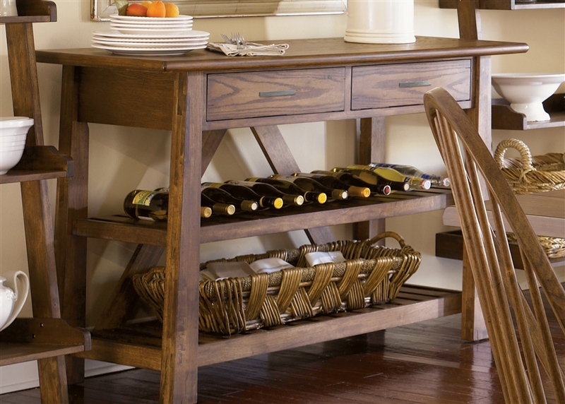 Farmhouse Server In Weathered Oak Finish By Liberty Furniture   139 SR5536