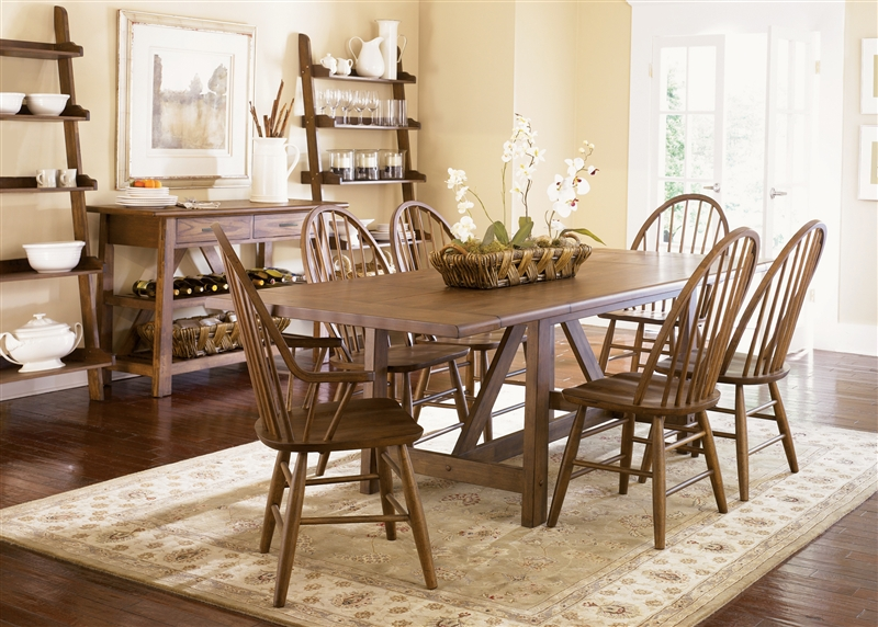 7 Piece Farmhouse Dining Set Oak
