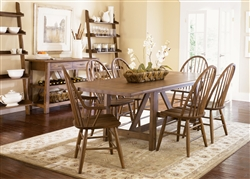 Farmhouse Trestle Table 7 Piece Dining Set in Weathered Oak Finish by Liberty Furniture - 139-T4002
