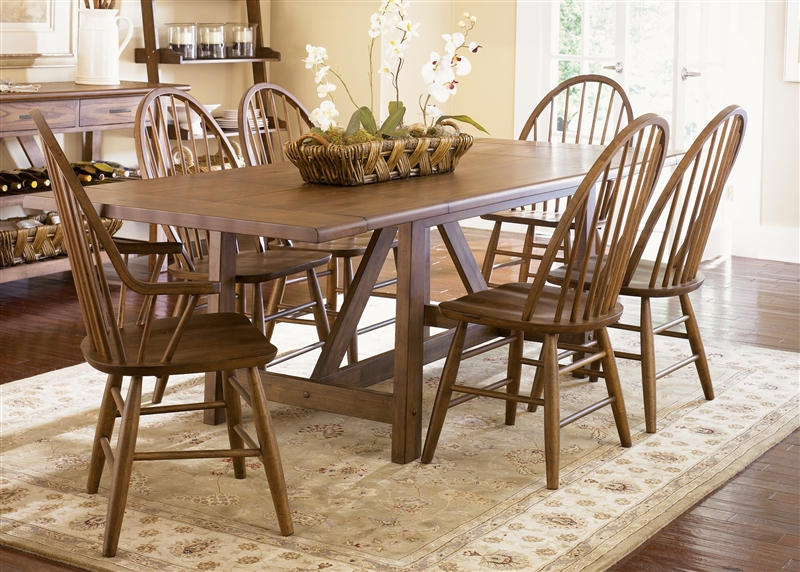 Farmhouse Trestle Table 7 Piece Dining Set In Weathered Oak Finish By  Liberty Furniture   139 T4002