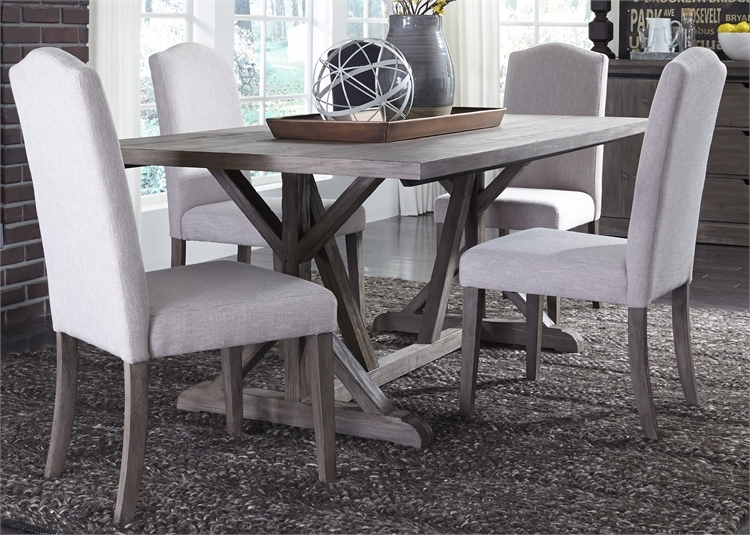 Ina Lakes Trestle Table 5 Piece, Weathered Gray Dining Room Table