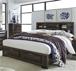 Newland Storage Bookcase Bed in Cappuccino Finish by Liberty Furniture - 148-BR-QSB