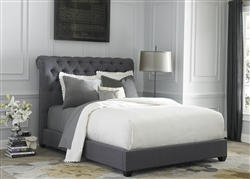 Chesterfield Sleigh Bed in Dark Gray Linen Fabric by Liberty Furniture - LIB-150-BR-QSL