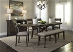 Double Bridge Trestle Table 6 Piece Dining Set in Dark Chestnut Finish by Liberty Furniture - 152-CD-6TRS