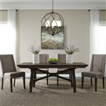 Double Bridge Trestle Table 5 Piece Dining Set in Dark Chestnut Finish by Liberty Furniture - 152-CD-O5TRS