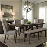 Double Bridge Trestle Table 6 Piece Dining Set in Dark Chestnut Finish by Liberty Furniture - 152-CD-O6TRS