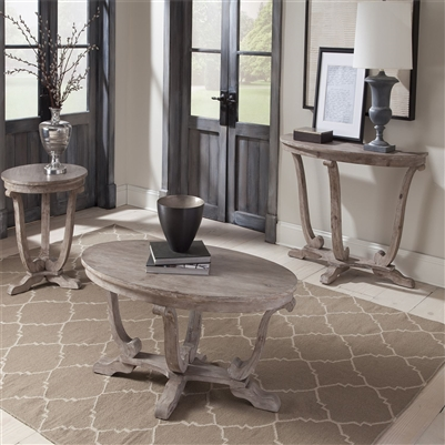 Greystone Mill Oval Cocktail Table in Stone White Wash Finish with Wire Brush by Liberty Furniture - 154-OT