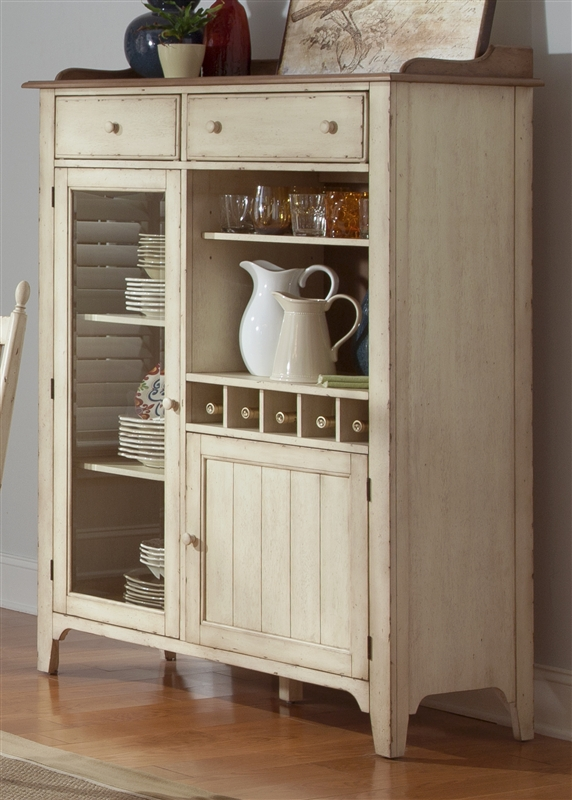 Cottage Cove Display Cabinet In Distressed Weathered Ivory U0026 Maple Finish  By Liberty Furniture   LIB 157 CH4863