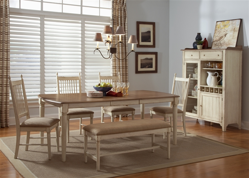 Cottage Cove 6 Piece Dining Set In Distressed Weathered Ivory U0026 Maple  Finish By Liberty Furniture   LIB 157 T4080 6