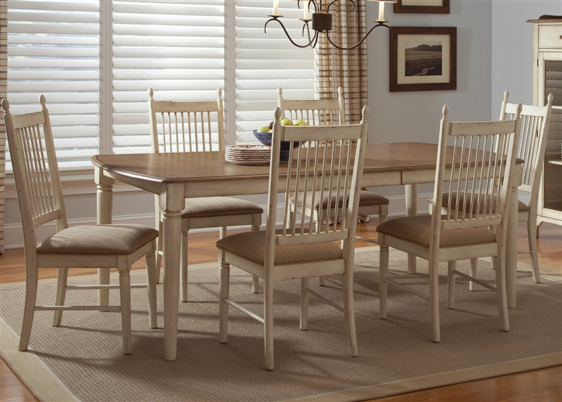 Cottage Cove 5 Piece Dining Set In Distressed Weathered Ivory U0026 Maple  Finish By Liberty Furniture ...