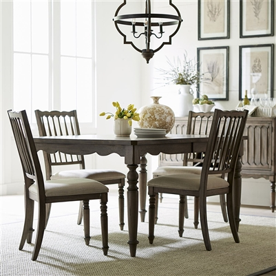 Brandywine Rectangular Leg Table 5 Piece Dining Set in Weathered Gray Finish by Liberty Furniture - 158-CD-5RLS