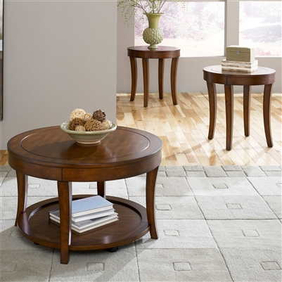 Casual Living 3 Piece Occasional Table Set in Mahogany Stain Finish by Liberty Furniture - 168-OT3000