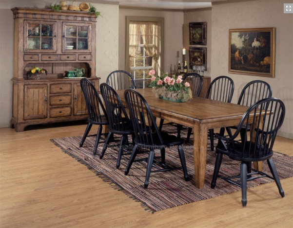 Treasures 7 Pc Extension Leg Table In Rustic Oak Finish With Black Windsor  Chairs By Liberty Furniture   17 C4050
