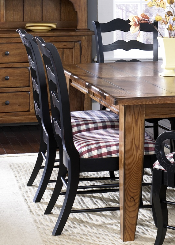 Treasures Extension Leg Table 7 Pc Set In Rustic Oak Finish With Black  Ladder Back Chairs ...