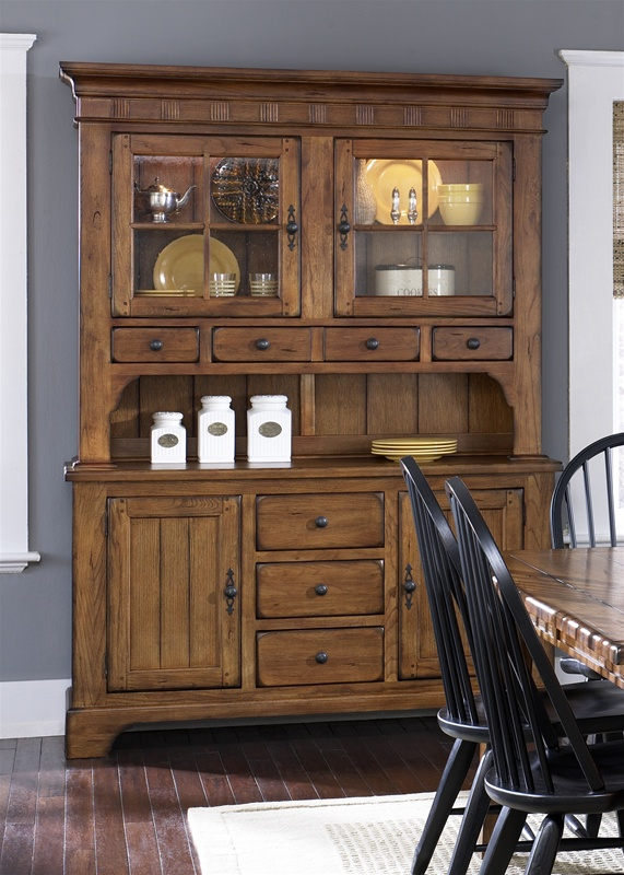 buffet table with hutch Treasures Buffet & Hutch in Rustic Oak Finish by Liberty Furniture  buffet table with hutch