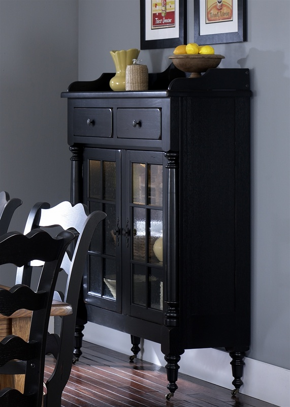 Treasures Display Cabinet In Black Finish By Liberty Furniture
