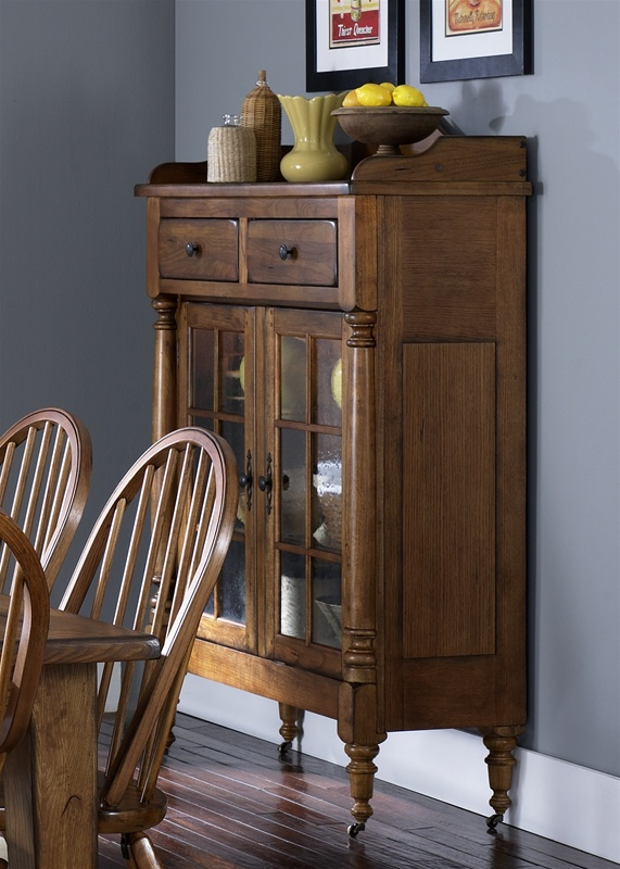 Superior Treasures Display Cabinet In Rustic Oak Finish By Liberty Furniture    17 CH6866K