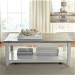 Summerville Cocktail Table in Soft White Wash Finish with Wire Brushed Gray Tops by Liberty Furniture - 171-OT1010