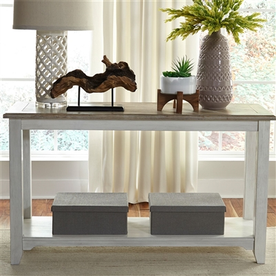 Summerville 52 Inch Sofa Table TV Stand in Soft White Wash Finish with Wire Brushed Gray Tops by Liberty Furniture - 171-OT1030