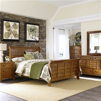 Grandpa's Cabin Sleigh Bed 6 Piece Bedroom Set in Aged Oak Finish by Liberty Furniture - 175-BR