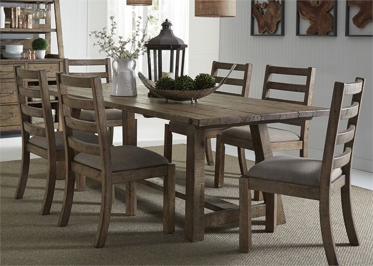 Prescott Valley Trestle Table 7 Piece Dining Set In Antique Honey Finish By  Liberty Furniture   LIB 178 CD 7TRS