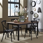 Vintage Rectangular Leg Table 5 Piece Black Dining Set in Weathered Pine and Black Metal Finish by Liberty Furniture - 179-T3660-B