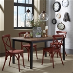 Vintage Rectangular Leg Table 5 Piece Red Dining Set in Weathered Pine and Black Metal Finish by Liberty Furniture - 179-T3660-R