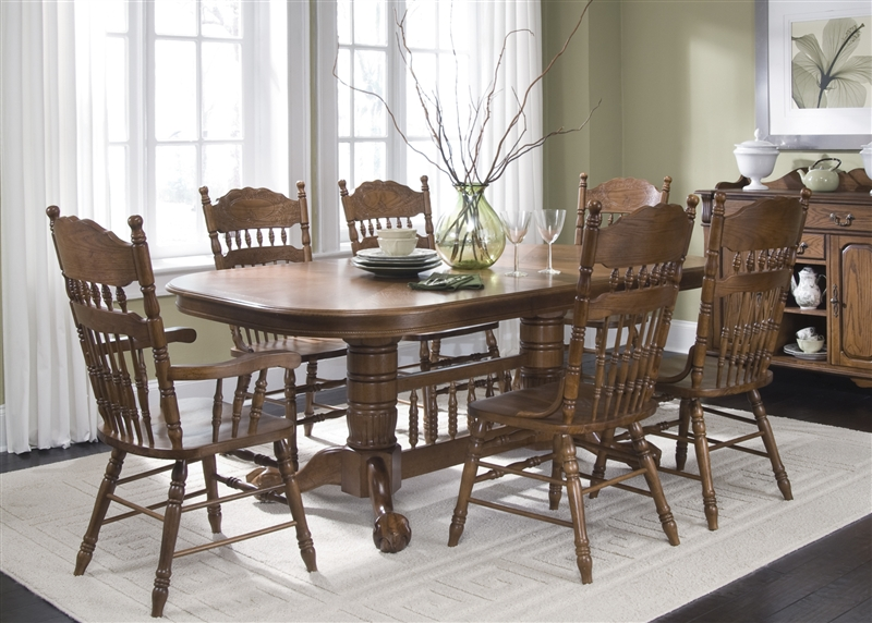 Old World Double Pedestal Table 7 Piece Dining Set In Medium Oak Finish By Liberty Furniture
