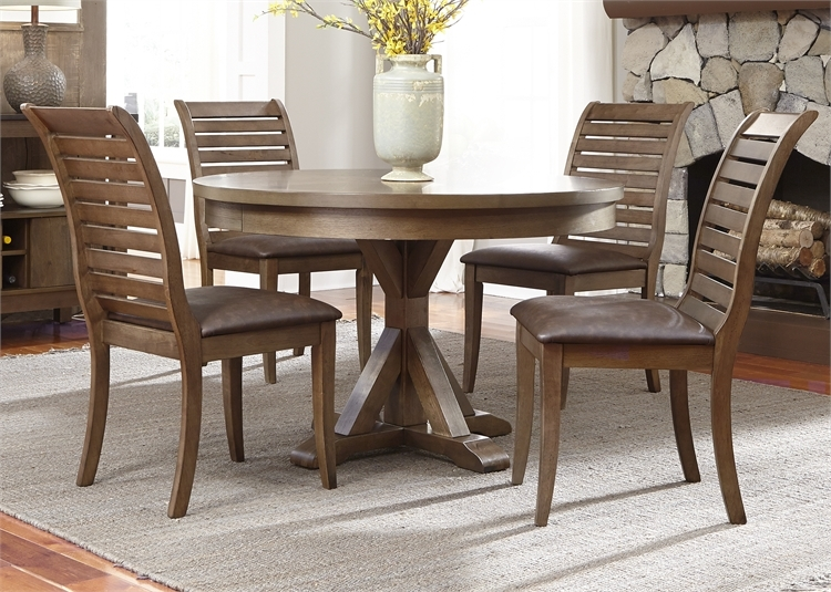 Bayside Crossing Round Table 5 Piece Dining Set In Washed Chestnut Finish  By Liberty Furniture ...
