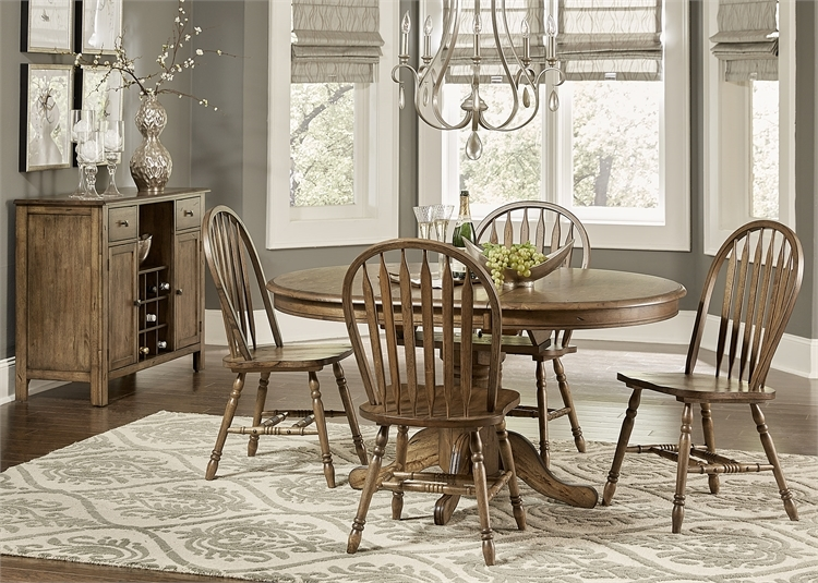 Carolina Crossing Table 5 Piece Dining Set In Antique Honey Finish By Liberty Furniture 186 Cd 5pds