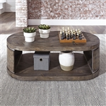 West End Oval Cocktail Table in Gray Wash Pine Finish by Liberty Furniture - 193-OT1010