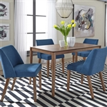 Space Savers Rectangular Table 5 Piece Blue Dining Set in Satin Walnut Finish by Liberty Furniture - 198-CD-5RLS-B