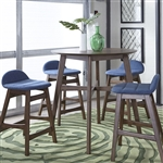 Space Savers Gathering Table 5 Piece Blue Dining Set in Satin Walnut Finish by Liberty Furniture - 198-GT3636-B