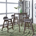 Space Savers Gathering Table 5 Piece Grey Dining Set in Satin Walnut Finish by Liberty Furniture - 198-GT3636-GY