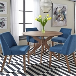 Space Savers Pedestal Table 5 Piece Blue Dining Set in Satin Walnut Finish by Liberty Furniture - 198-T4747-B