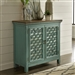 Kensington 2 Door Accent Cabinet in Turquoise Finish with Worn Wood Tone Top by Liberty Furniture - 2011-AC3836