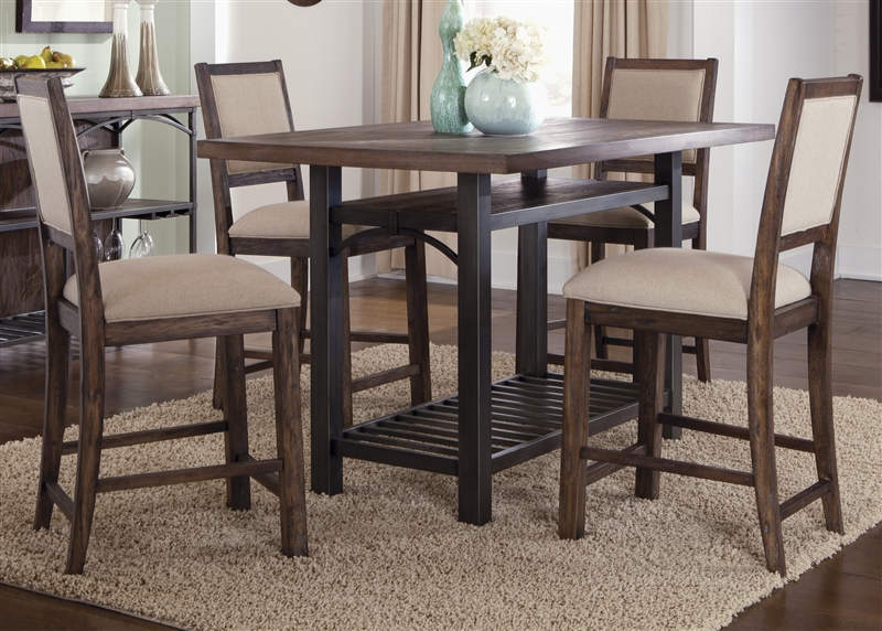 Franklin Counter Height Gathering Table 5 Piece Dining Set in Rustic Brown Finish by Liberty Furniture ... & Franklin Counter Height Gathering Table 5 Piece Dining Set in Rustic ...