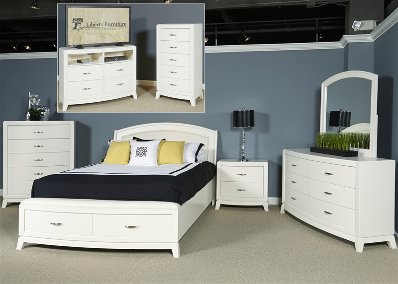 Avalon Storage Bed Piece Bedroom Set In White Truffle Finish By