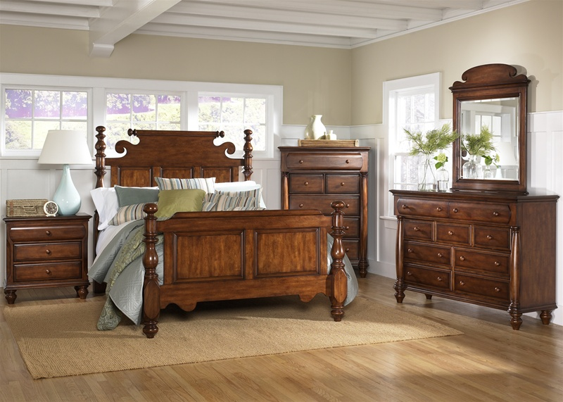 americana poster bed 6 piece bedroom set in chestnut finish by