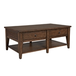 Lake House Drawer Cocktail Table in Rustic Brown Oak Finish by Liberty Furniture - 210-OT1010