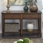 Lake House 48 Inch Sofa Table TV Stand in Rustic Brown Oak Finish by Liberty Furniture - 210-OT1030