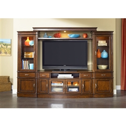 Hanover 4 Piece Entertainment Wall in Cherry Spice Finish by Liberty Furniture - 222-ENTW