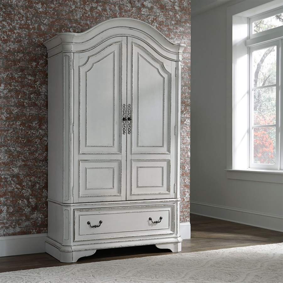 Magnolia Manor Armoire in Antique White Finish by Liberty Furniture -  244-BR-ARM