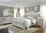 Magnolia Manor Sleigh Bed 6 Piece Bedroom Set in Antique White Finish by Liberty Furniture - 244-BR-BQSL