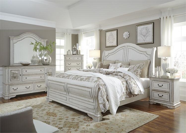 Magnolia Manor Sleigh Bed 6 Piece Bedroom Set In Antique White